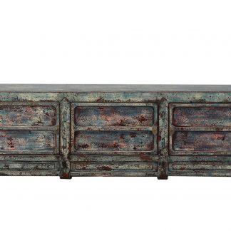 blue crackle 3 door cabinet
