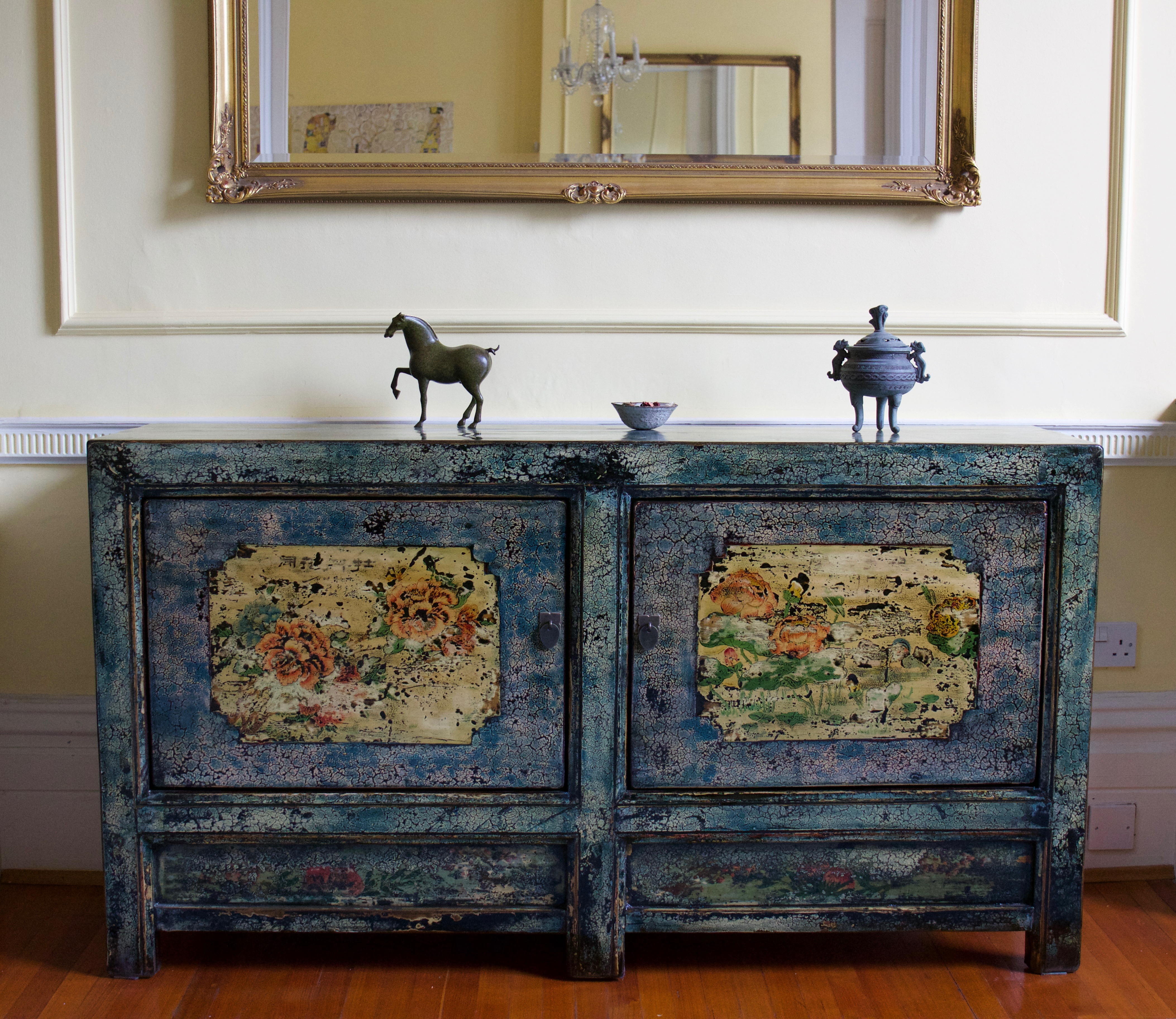 Hand Painted Blue Crackle High Lacquer Cabinet