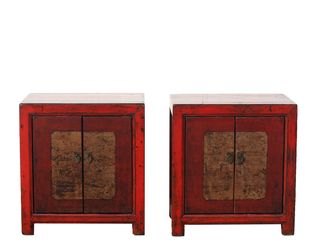 A Pair Of Hand Painted 2 Door Red High Lacquer Bedside