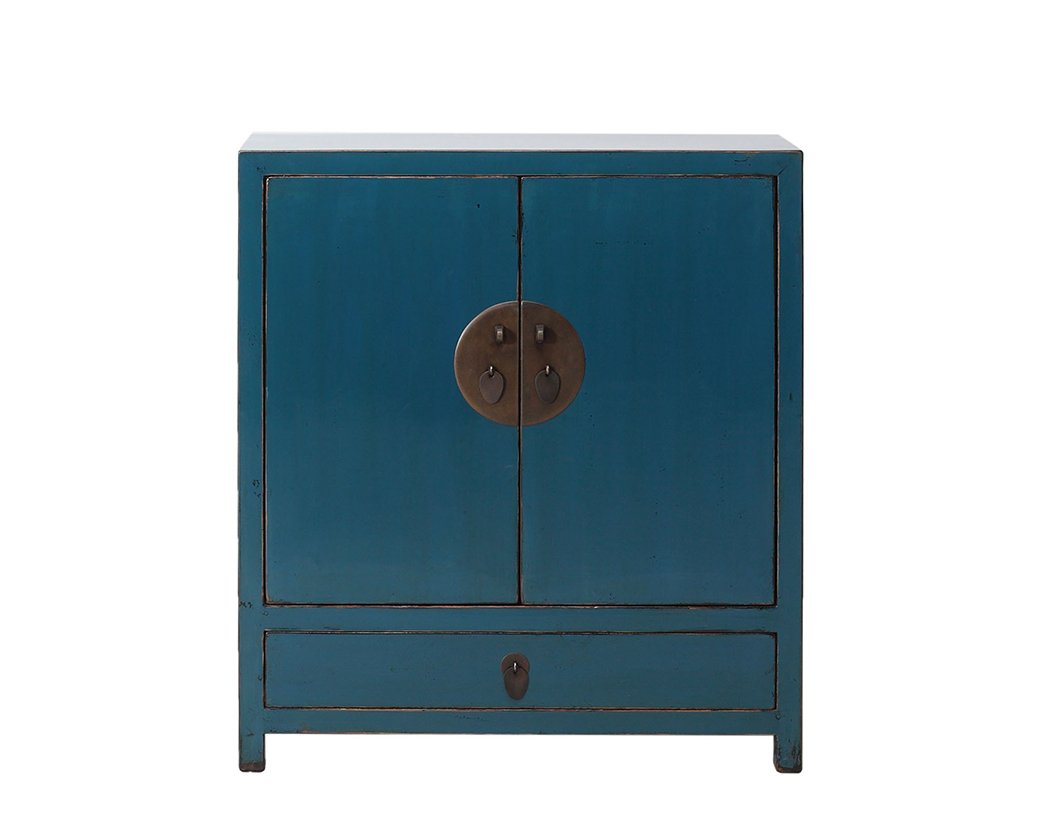 Blue High Lacquer 2 Door Cabinet Nookdeco