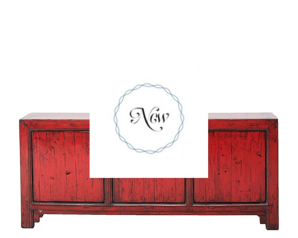Red high lacquer 3 door cabinet nookdeco for Chinese antique furniture singapore