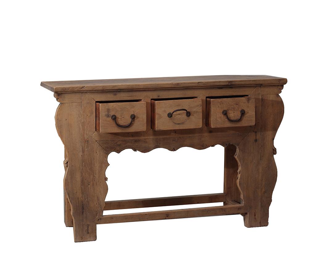 natural wood console table 3 drawer nookdeco. Black Bedroom Furniture Sets. Home Design Ideas