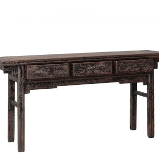 black 3 drawer console table