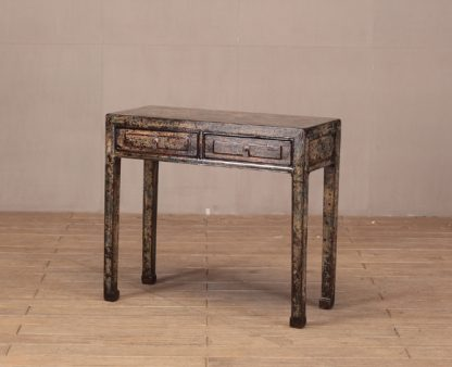 dark blue crackle 2 drawer table