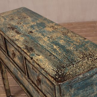 Blue Crackle High Lacquer 3 Drawer Console Table