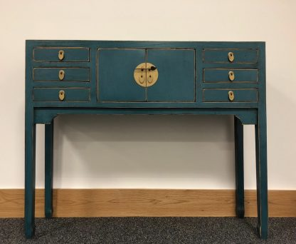 Teal 6 drawer console table