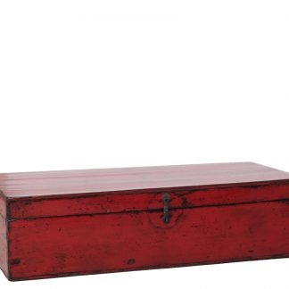 Long red Chinese antique blanket chest