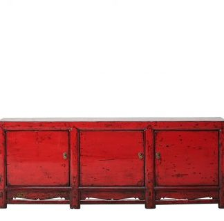 3 door red cabinet