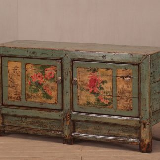 Hand Painted Green High Lacquer Cabinet