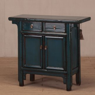 2 door 2 drawer blue console table
