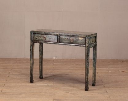 2 drawer blue console table