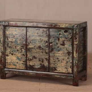 3 door crackle cabinet