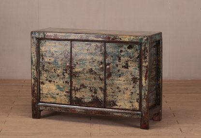 3 door crackle cabinet