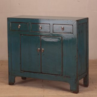 blue 2 door and 3 drawers cabinet