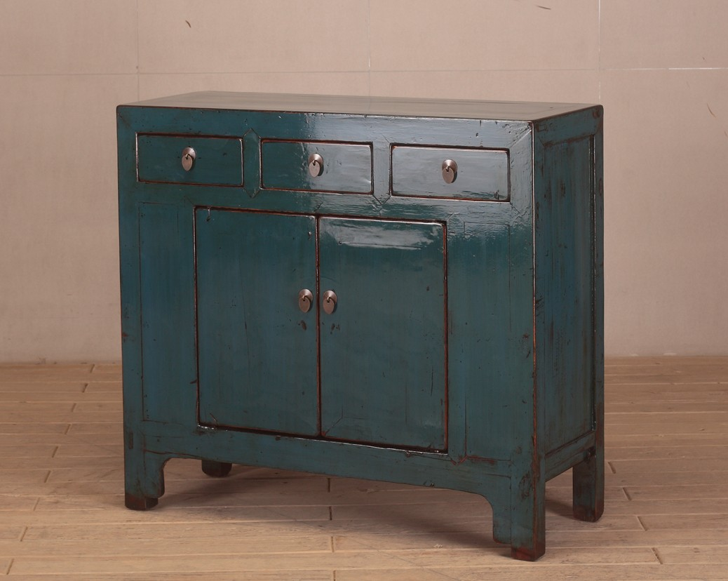 Blue High Lacquer 3 Drawer 2 Door Cabinet Nookdeco