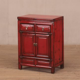 red 2 door 2 drawer cabinet