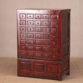 red medicine cabinet