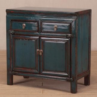 blue 2 door 2 drawer cabinet