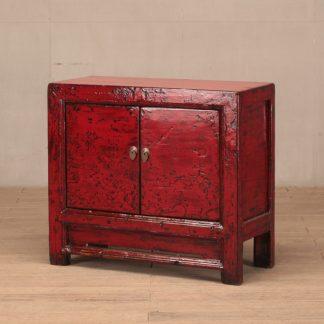 2 door red cabinet